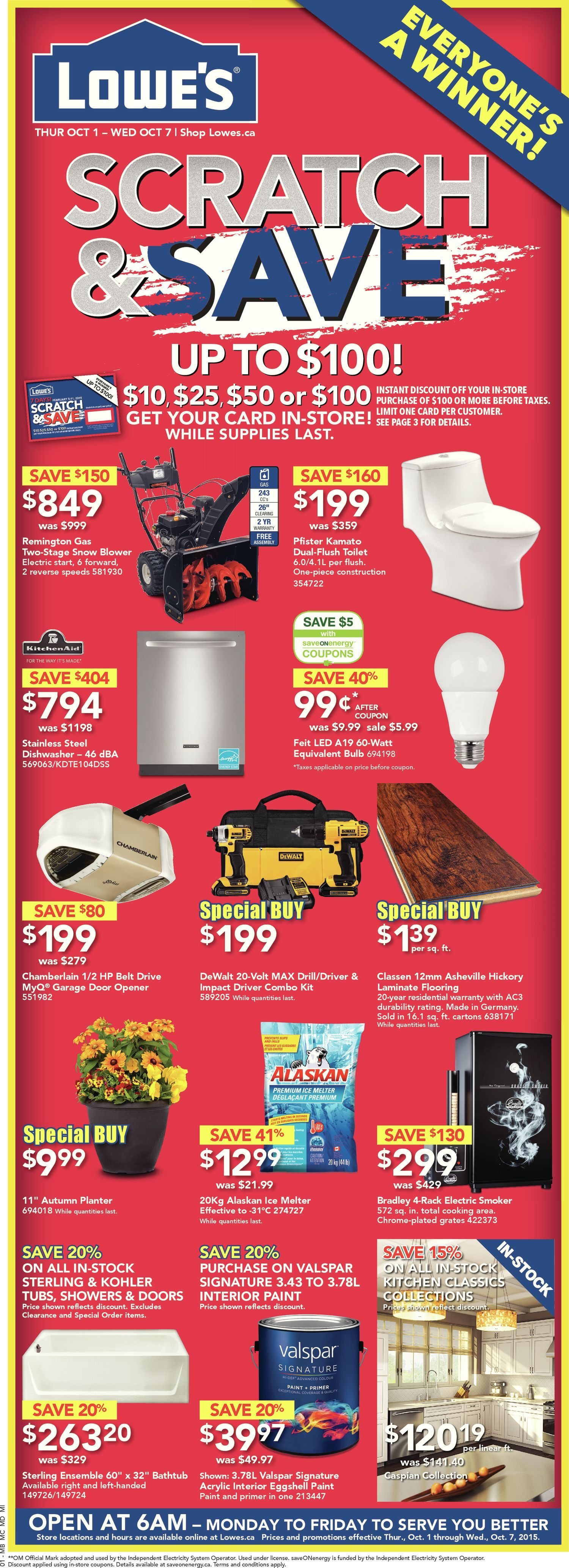 Bathroom Renovation Cost Redflagdeals lowe's weekly flyer - weekly - scratch & save - oct 1 – 7