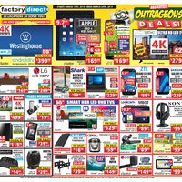 Factory Direct - Aboslutely Outrageous Deals! Flyer