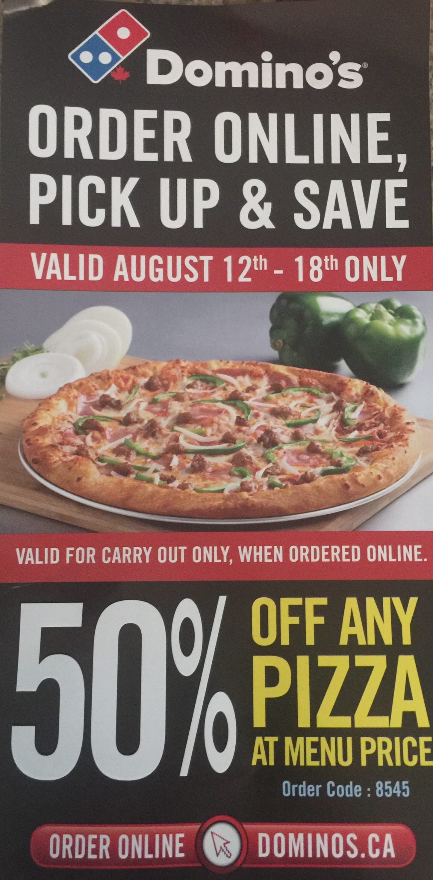 Domino's Pizza: 50% Off All Pizzas Until August 18