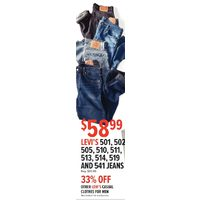 Levi's 501, 502, 505, 510, 511, 513, 514, 519 And 541 Jeans