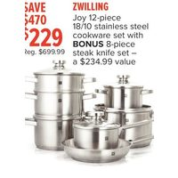 Zwilling Joy 18/10 Stainless Steel Cookware Set With Bonus 8-Piece Steak Knife Set