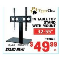 Tyger Claw TV Table Top Stand With Mount