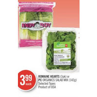 Romaine Hearts Or PC Organics Salad Mix