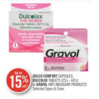 Dulco Comfort Capsules, Dulcolax Tablets Or Gravol Anti-Nauseant Products