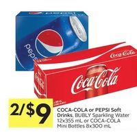 Coca-Cola Or Pepsi Soft Drinks, Bubly Sparkling Water OR Coca-Cola Mini Bottles