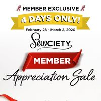 Fabricland - 4 Days Only! - Sewciety Member Appreciation Sale Flyer