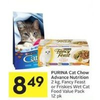 Purina Cat Chow Advance Nutrition, Fancy Feast Or Friskies Wet Cat Food