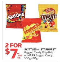 Skittles Or Starburst Bagged Candy Or Mars Bagged Candy