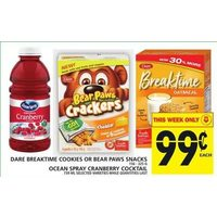 Dare Breaktime Cookies Or Bear Paws Snacks, Ocean Spray Cranberry Cocktail