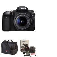 Canon EOS 90D Digital SLR Camera With EF-S-18-55mm IS STM Lens Kit, Rode Compact In-Camera Microphone And Canon 700SR DSLR System Bag
