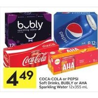 Coca-Cola Or Pepsi Soft Drinks, Bulby Or Aha Sparkling Water