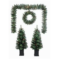 Led Lighted Tree, Wreath And Garland Set