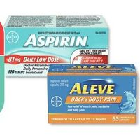 Aspirin Coated Daily Low Dose Tablets or Quick Chews or Aleve Caplets Nighttime Caplets or Back & Body Pain Liquid Gel Capsules
