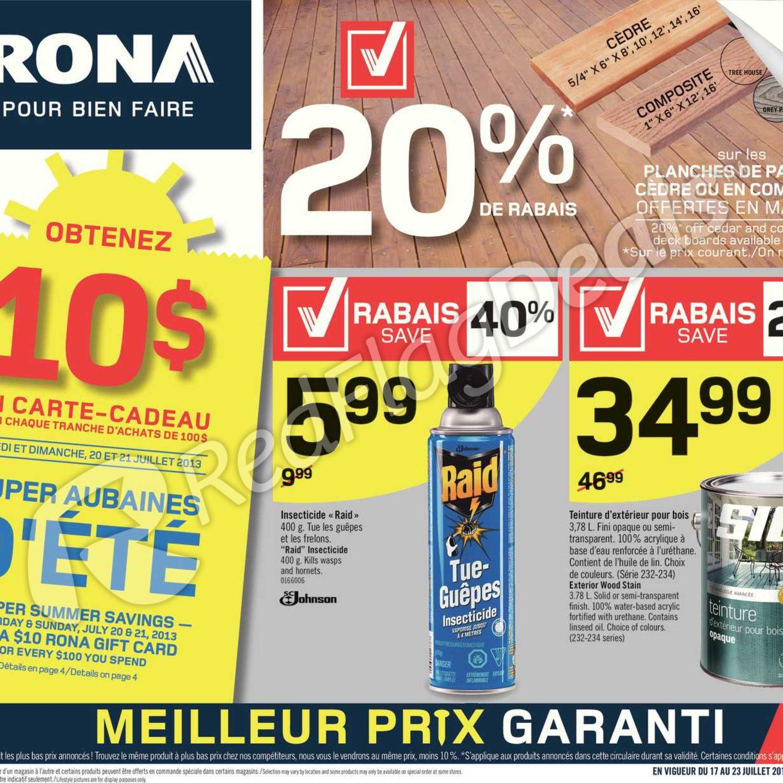 Carte Rona Accord D.Rona Weekly Flyer Weekly Flyer Super Summer Savings Jul 17