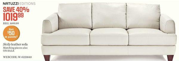 Natuzzi Editions Sicily Leather Sofa
