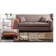 Simmons Princeton Ii Double Sofa Bed With Beautysleep Mattress 989 00 55 Off