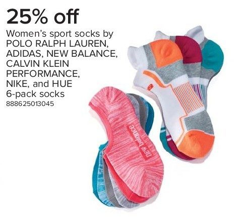 buy popular cc046 c1f45 The Bay Women s Sport Socks by Polo Ralph Lauren, Adidas, New Balance, Calvin  Klein Performance, Nike, and Hue 6-Pack Socks - 25% off Women s Sport Socks  by ...