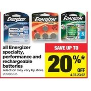 All Energizer Specialty, Performance and Rechargeable Batteries - $4.37-$23.97 (Up to 20% off)