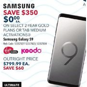Virgin Mobile or Koodo Samsung Galaxy S9 - $0.00 w/ Select 2-yr Gold Plans or Tab Medium - $350.00 off