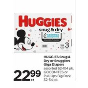 Huggies Snug & Dry Or Snugglers Giga Diapers, Goodnites Or Pull-Ups Big Pack - $22.99