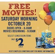 Starlight Canada & Cineplex Community Day: Free Movies on October 20 + $2 Concession Items